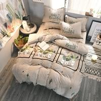 双面法莱绒四件套冬季加厚水晶绒保暖珊瑚绒床单被套床上蓄热 浅灰色 仙人掌