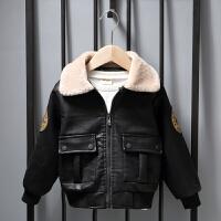 童装男童皮衣冬装儿童加绒外套