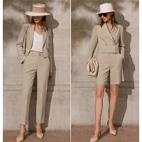 Amii环保系列休闲显高裤装女2021春新款小个子西装裤