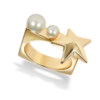 欧美混搭闪钻五角星珍珠开口关节戒指 网红装饰指环女
