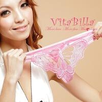 VitaBilla内裤★炫丽蜜桃粉★女T裤 蝴蝶镶钻透明丁字裤 炫丽蜜桃粉