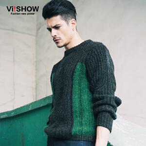 viishow秋冬新款毛衣 修身韩版毛衣男圆领 拼色针织衫毛衣男 Z110353
