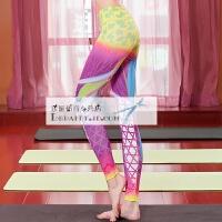 紧身瑜伽裤 女个性3D印花瑜伽服 修身显瘦运动健身裤 夏季九分裤 花色