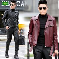 逸纯印品(EASZin)仿真皮皮衣 男士翻领百搭机车皮夹克 短款西装领韩版修身皮装外套