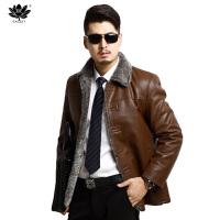 逸纯印品(EASZin)男装皮衣 皮毛一体仿真皮皮衣 男士皮衣加厚加绒单排扣皮皮夹克外套