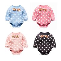 婴儿连体衣服女宝宝新生儿秋季0岁9个月三角长袖休闲哈衣春夏款