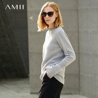 AMII 撞色线毛衣女士低领黑色打底针织衫冬装修身圆领上衣.