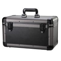 收纳盒 木箱子带锁储物箱车载 多功能家用塑料储蓄箱大号 全黑色 带锁功能 中号 43*27*26 cm