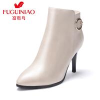 富贵鸟女鞋 冬季新款踝靴超高跟短靴女单靴 短筒女靴