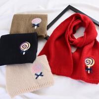 儿童秋冬季保暖可爱围脖红色围巾长款宝宝洋气