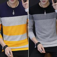 T恤男士长袖新款 个性潮流男秋装纯棉韩版修身薄款毛衣服小衫 7823藏青+M500黑色 M