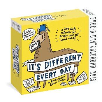 【现货】英文原版 不一样的每天 2019年日历 笑话 游戏 小知识 动物漫画 每天一页 It's Different Every Day Page-A-Day Calendar 2019 国营进口!品质保证!