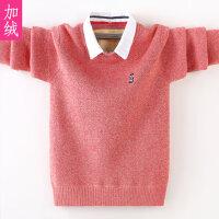 儿童假两件衬衫领毛衣绒款秋冬新款保暖衣中大童针织衫男孩
