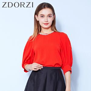 zdorzi卓多姿气质百搭纯色雪纺七分袖衬衫女832578