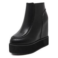 韩版秋冬新款内增高马丁靴超高跟平底短靴女防水台坡跟厚底松糕鞋 黑色