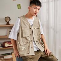 限时抢购价149唐狮2019秋季新款马甲男青少年学生工装背心上衣口袋韩版潮流