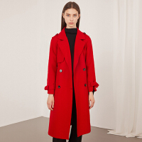 红袖女装系带双排扣翻领毛呢大衣外套女