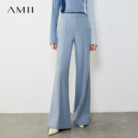 Amii极简通勤百搭微喇叭休闲裤2020新款高腰直筒阔腿裤女拖地裤子