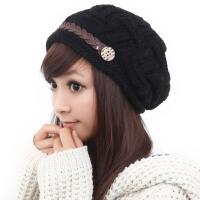 韩版潮毛线帽子女秋冬季新款保暖时尚米/粉/黑色针织帽