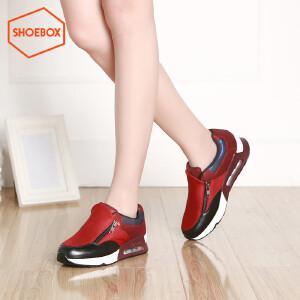 达芙妮旗下SHOEBOX/鞋柜春季新款深口拉链运动鞋 中跟女鞋