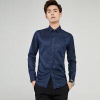 2018纯色男式衬衫修身型翻领衬衣韩版长袖休闲男士衬衫