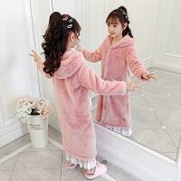 儿童浴袍珊瑚绒睡袍法兰绒秋冬季女童睡衣