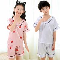 夏季薄款睡衣短袖仿真丝冰丝儿童套装小孩宝宝家居服套装