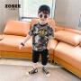 【2件2折】左西童装男童短袖T恤夏装儿童半袖迷彩韩版中大童2021新款夏季潮