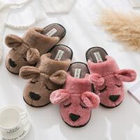 牛筋厚底棉拖鞋男女冬季居家室内韩版可爱情侣家居地板家用毛拖鞋