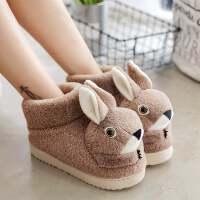 卡通可爱棉拖鞋保暖毛拖鞋女冬季萌兔孕妇月子鞋半包跟居家居鞋女