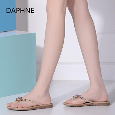 Daphne/达芙妮夏新品 水钻平底低跟凉鞋夹趾女凉拖1016303117