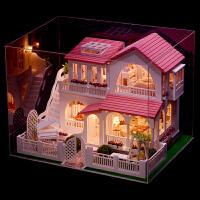 儿童玩具木质娃娃屋女孩礼物过家家粉色房子别墅模型