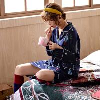 春秋睡衣女士新款韩版套头夏中袖睡裙衬衫领中长款家居服 SH-23蓝色睡裙 XX