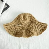 百搭可折叠草帽女夏季出游遮阳帽韩版度假凉帽海边沙滩帽子潮 可调节