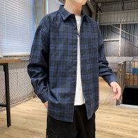 格子衬衫男长袖秋季薄款韩版潮流帅气休闲衬衣男装寸衣外套上衣