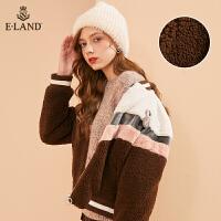 【到手价:454元】ELAND毛毛开衫外套女冬短款胸针撞色棒球服式EEJH84V02B