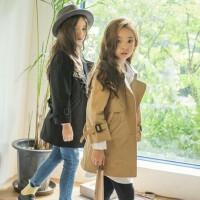 韩国童装秋冬亲子装母女母子韩版女童中长款风衣中大童外套大衣