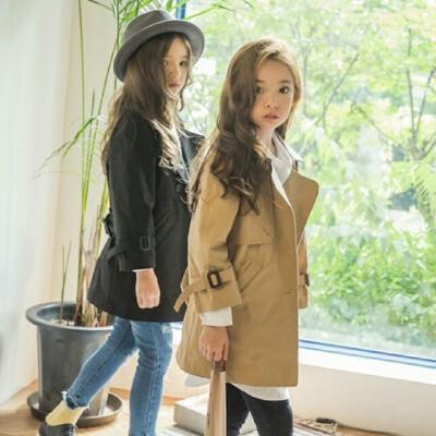 韩国童装秋冬亲子装母女母子韩版女童中长款风衣中大童外套大衣 发货周期:一般在付款后2-90天左右发货,具体发货时间请以与客服协商的时间为准