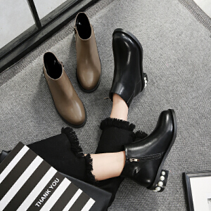 毅雅2017秋冬短靴裸靴女单靴粗跟圆头骑士靴马丁靴串珠英伦欧美女靴潮