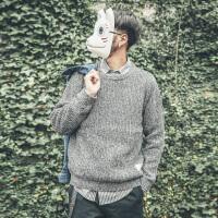 日系男装冬装纯色圆领套头休闲男士毛衣男韩版打底针织衫男