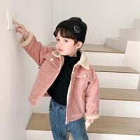 外套冬装宝宝粉色上衣儿童灯芯绒童装