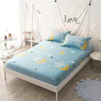 床笠床罩床套纯棉 全棉卡通儿童防滑床单 席梦思棕垫保护套定做 天蓝色 星月物语