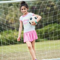 探路者童装 18春夏新款女童弹力舒适印花速干短袖套装裙QAXG84018