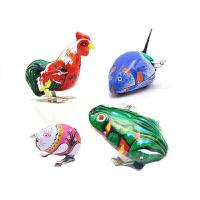 80后怀旧经典玩具铁皮青蛙跳跳蛙铁皮公鸡铁皮老鼠上链发条玩具 (青蛙+公鸡+老鼠+兔子)各一只