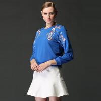 2017新款套头卫衣女秋长袖绣花宽松上衣圆领打底衫百搭秋季 蓝色