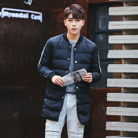 2017冬季新款韩版休闲男士加肥加大码棒球领日系青年中长款羽绒服 黑色