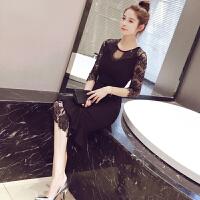 2018春装新款性感鱼尾蕾丝连衣裙修身包臀气质宴会礼服裙打底长裙 黑色