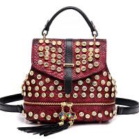 夏季新款镶钻女包双肩包女带钻手提包单肩斜跨包女士背包czx 红色