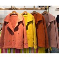 Y1春季新款2018韩版仿貂绒加厚开衫毛衣短款针织衫时尚小外套0.95