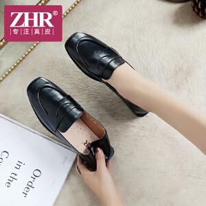 ZHR2018秋季新款方头单鞋平底乐福鞋粗跟休闲女鞋英伦风小皮鞋子